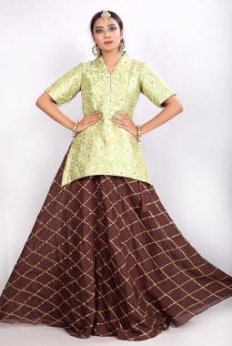 77f08599e3c7a Pista Green Peplum Brocade Top With Modal Silk Embroidered Skirt