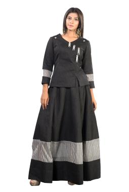 Black Chanderi Top With Skirt