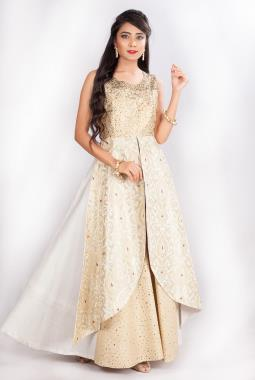 Off White Raw Silk Hand Embroidered Gown With Kinkhab Layer