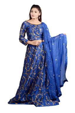 Royal Blue Raw Silk Lehenga Choli With Zardosi Work