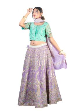Luvender Raw Silk Lehenga Choli With Zardosi Work