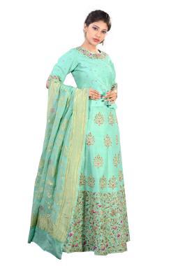 Mint Green Raw Silk Lehenga Choli With Zardosi Work
