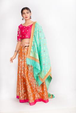 Tangy Orange Kinkhab Lehenga Choli With Zardosi Work