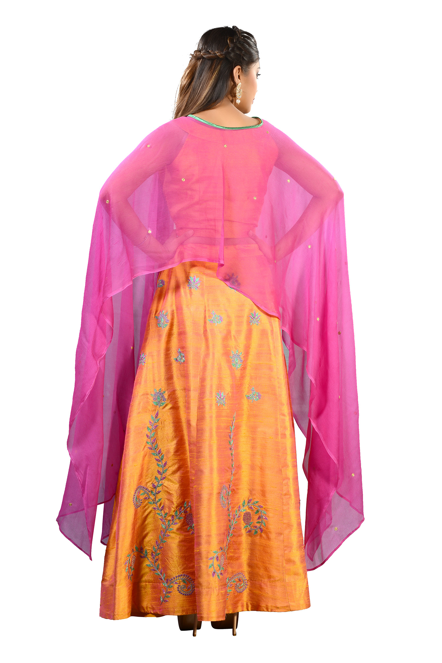 d58833afc50 Light Orange Raw Silk Crop Top / Skirt With Thread Work And Cape. Product  Code: RK 3414