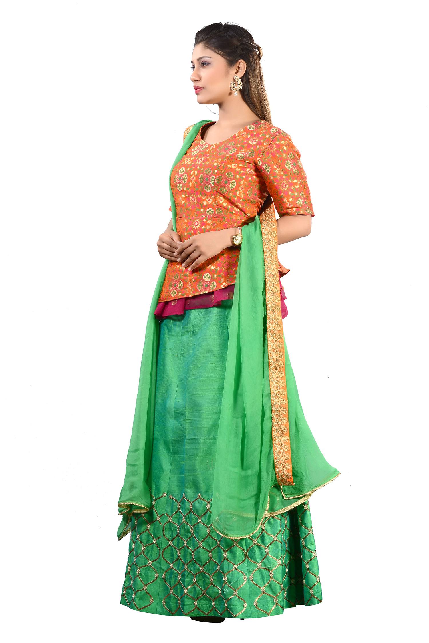 f1768f837915f Orange Banarasi Peplum Top With Hand Embroidered Skirt And Dupatta