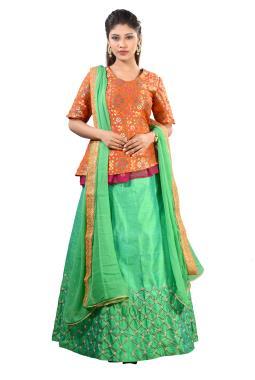 a3cd67f471416 ... Orange Banarasi Peplum Top With Hand Embroidered Skirt And Dupatta