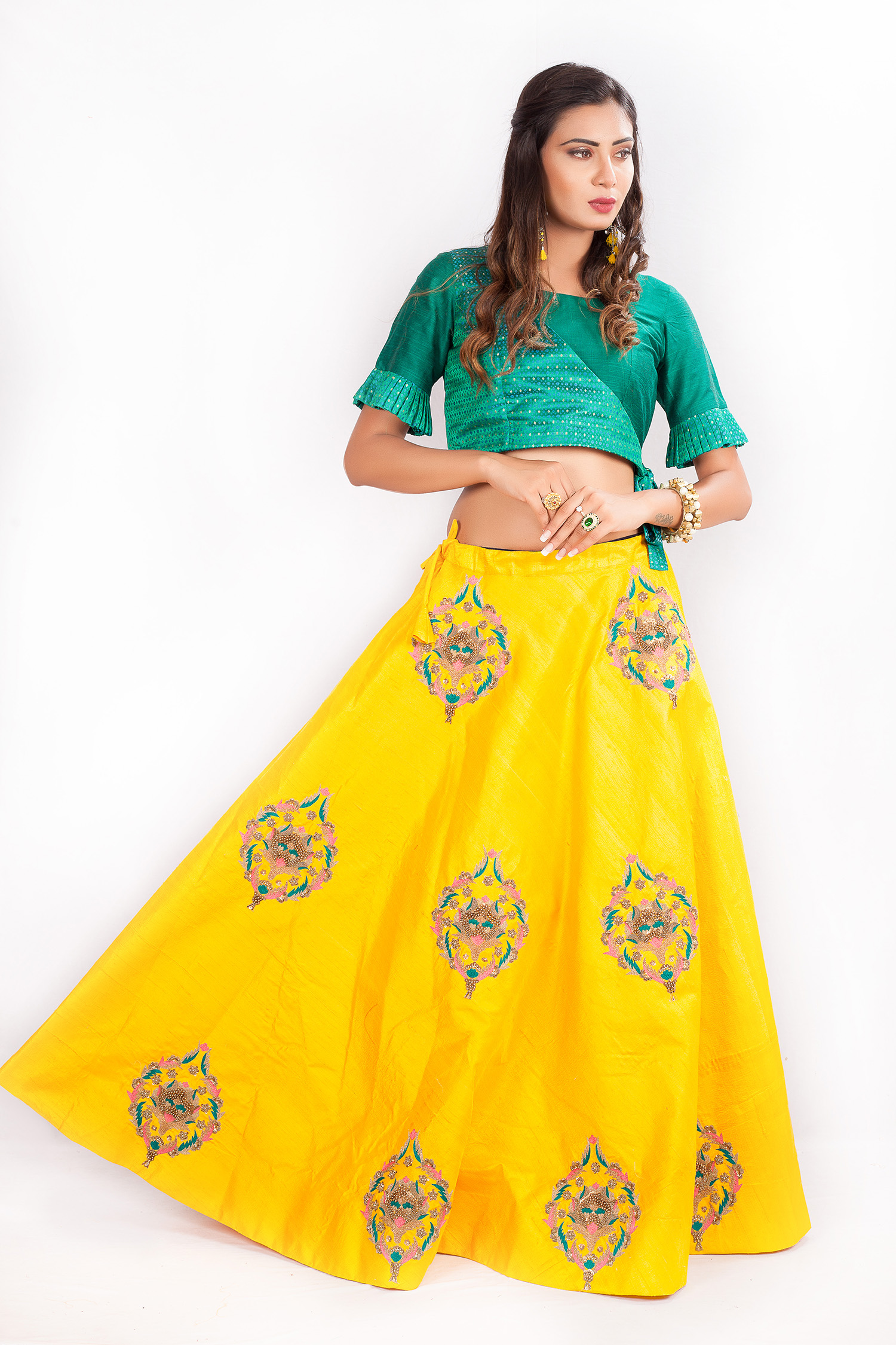26f46ee9590 Yellow And Green Raw Silk Crop Top/Skirt With Zardosi Work. Product Code: RK  3408