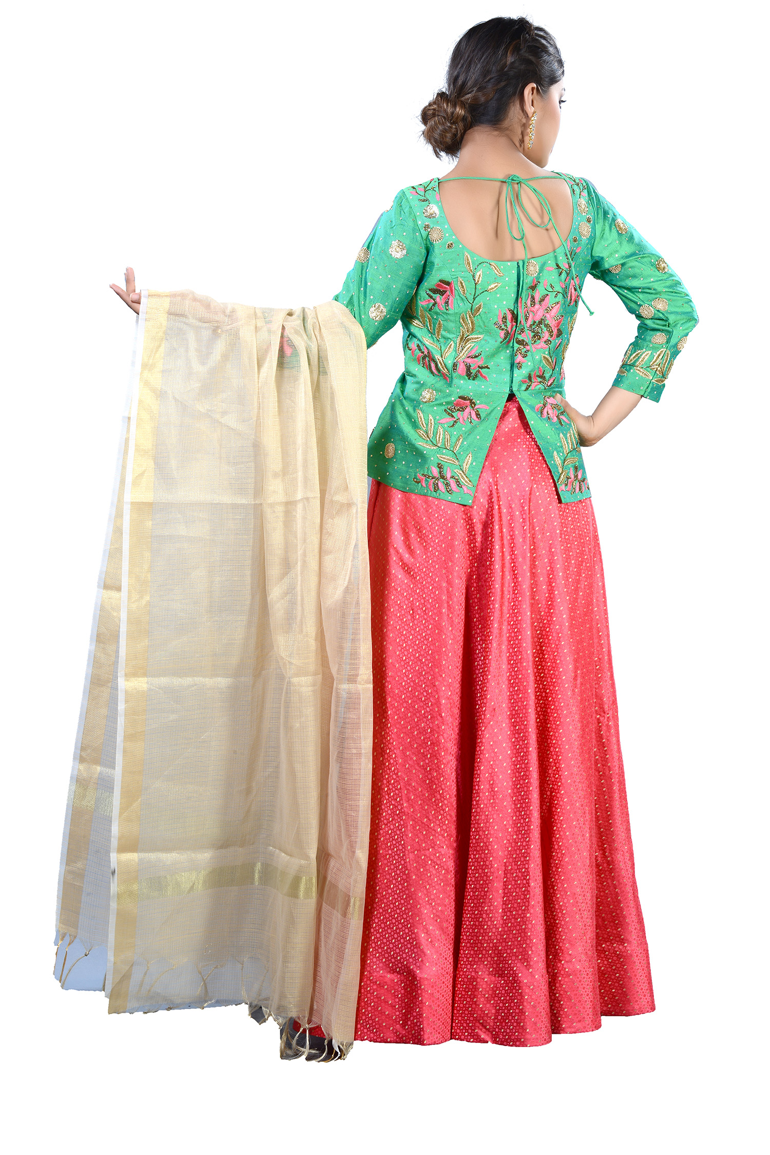 0df75e709a9a1 Green Raw Silk Peplum Top With Zardosi Work And Banarasi` Skirt
