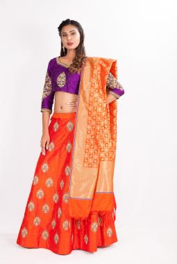 Orange Raw Silk Lehenga Choli With Zardosi Work