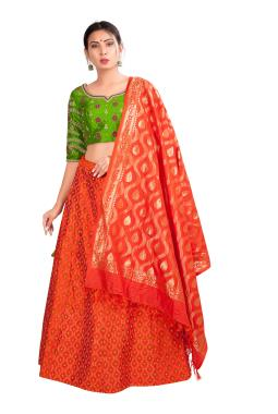 Tangy Orange Ikkat Raw Silk Lehenga Choli With Zardosi Work