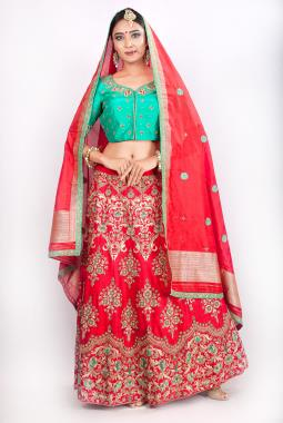Red Raw Silk Bridal Lehenga Choli With Zardosi Work