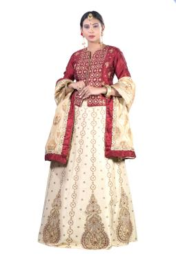 Beige And Maroon Raw Silk Bridal Lehnga Choli With Intricate Zardosi Work