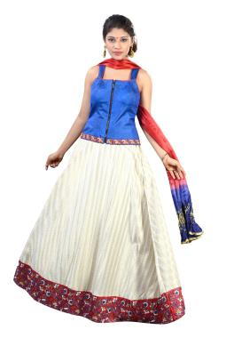 Off White And Blue Corset Lehenga Choli With Hand Work
