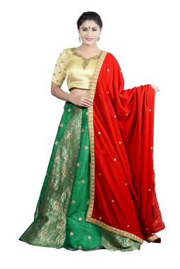 Green Raw Silk Bridal Lehenga Choli With Zardosi Work