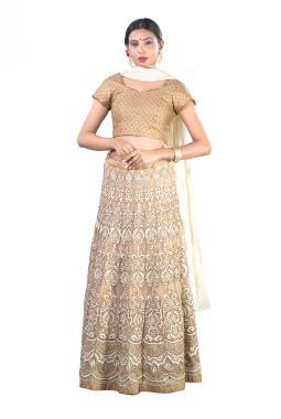 Gold Net Bridal Lehenga Choli With Zardosi And Thread Work