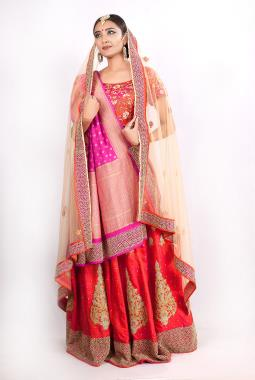 Orange Pink Banarasi Silk Lehenga Choli With Zardosi And Thread Work