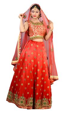 Tomato Red Gaji Silk Bridal Lehenga Choli With Zardosi Work