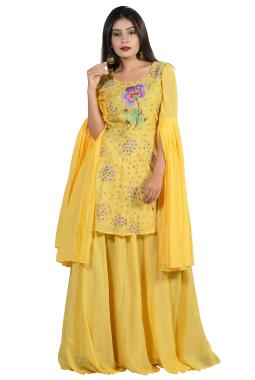 Yellow Modal Silk Top -Skirt With Hand And Resham Embroidery
