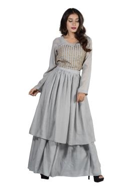 7fb46ea5cfbd3 ... Grey Modal Silk Crop Top And Double Layer Skirt With Hand Work