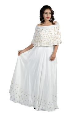 White Modal Silk Crop Top Skirt And Cape With Zardosi Work