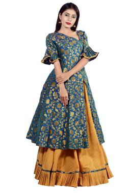 Turquoise Blue Brocade Anarkali Top With Skirt