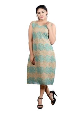 Beige And Turquoise A-Line Tunic With Sequence And Thread Work