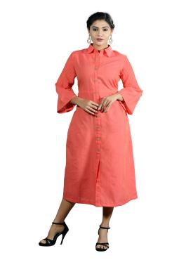 Peach Cotton Kurta With Fine Fine Pin Tucks