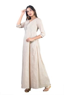 Beige Cotton Anarkali Kurta