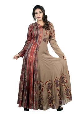 Dusty Brown Modal Silk Anarkali Kurta With Hand Work