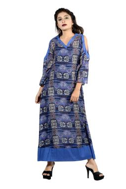 Blue Printed Modal Silk Tunic