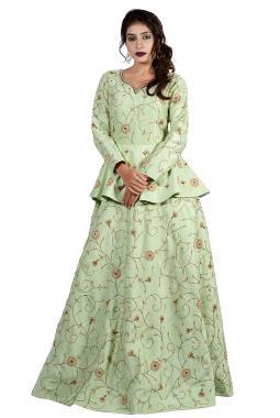 367687db509bb Pista Green Raw Silk Gown With Zardosi Work
