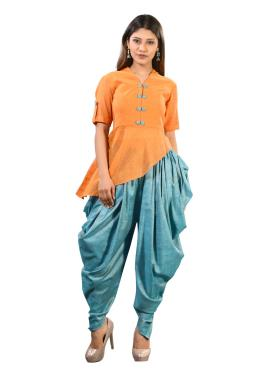 Orange And Blue Top With Dhoti