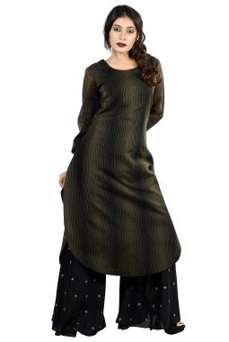 Black Chanderi Top With Flared Palazzo