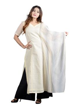 White Chanderi Designer Top With Attached Dupatta And Palazzo