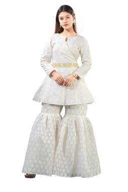 White Cotton Jacquard Short Top With Sharara