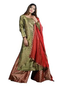 Mehndi Green Raw Silk Hand Work Top With Flared Palazzo