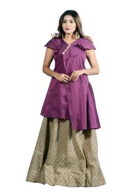 Magenta Chanderi Top With Jute Skirt
