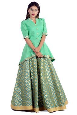 1f09920bff42a ... Green Modal Silk Peplum Top With Brocade Skirt
