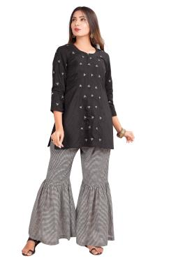 Black Chanderi Top With Chex Sharara Bead Work