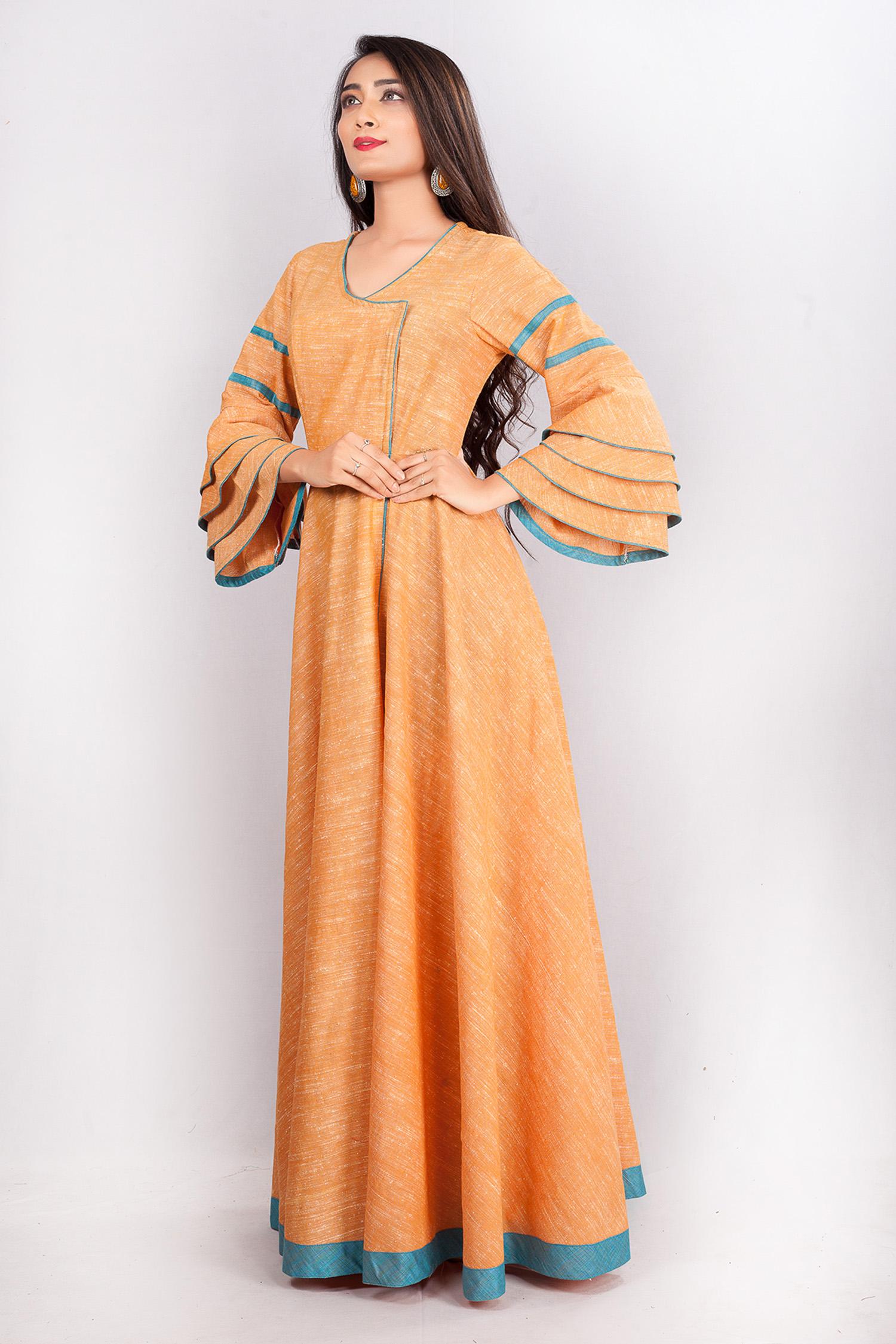 ea945e4b90 Orange Cotton Ruffled Sleeves Floor Length Gown