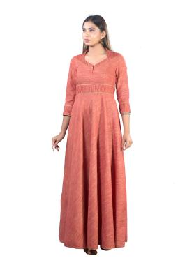 Rust  Cotton Floor Length Designer Gown With Pin Tucks