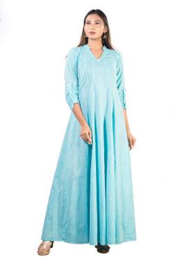 Light Blue Anarkali Cotton Gown
