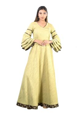 Green Cotton Ruffled Sleeves Floor Length Gown