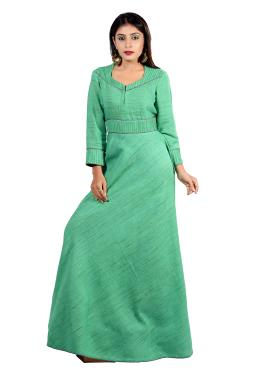 Rama Green Cotton Floor Length Designer Gown