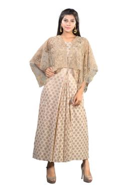 Beige Chanderi Designer Kurta With Cape