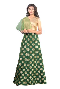 Green Brocade Gown With One Side Net  Layer Sleeve