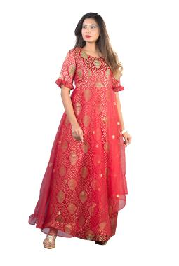 Red Kinkhab Gown With Net Layer