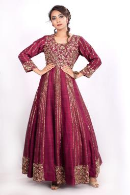 Wine Raw Silk Bridal Gown With Zardosi Work
