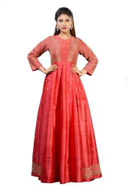 Peach Pink Raw Silk Gown With Zardosi And Pearl Work