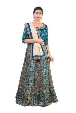 Turquoise Blue Raw Silk Bridal Lehenga Choli With Heavy Zardosi Work